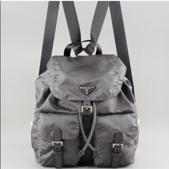Prada Bags   Authentic Vela Nylon Gray Backpack   Poshmark 9d82552ff6
